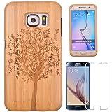 Semoss 2 en 1 Accessoires Set Nature Bois Bambou Coque Etui Housse avec Arbre motif pour Samsung Galaxy S6 Edge Plus Bamboo Bumper Cover Rigide avec Protecteur d'ecran