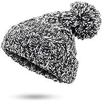 BLACK ELL Sombrero de señora, Sombrero de Hombre Sombrero de Invierno de Mujer Sombrero de Lana de Crochet Sombreros de Gorros Gruesos de Mezcla Gruesa de Color S