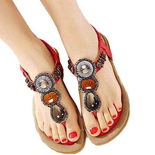 espinha Vermelhas Clip Doce Mulheres Bohemian Frisado Moda toe Estilo Omiky® Planas sandálias wqBz14n