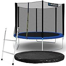 Kinetic Sports Outdoor Gartentrampolin Komplett-Set inkl. Sicherheitsnetz Randabdeckung Leiter Abdeckplane