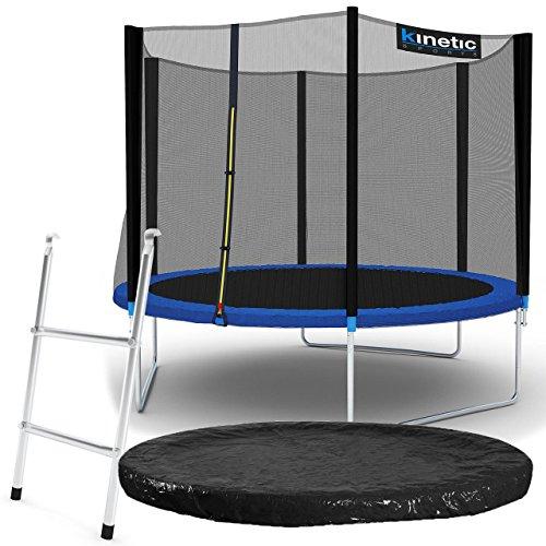 Kinetic Sports Outdoor Gartentrampolin Komplettset Ø 305 cm Sicherheitsnetz Randabdeckung Leiter Abdeckplane