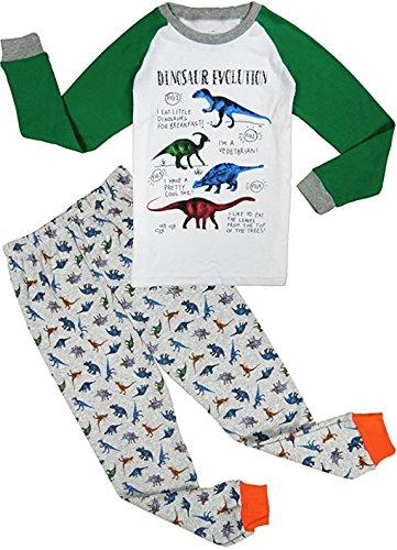 2 Stück Baumwoll-anzug (Babygp 2 Stücke Anzug der Schlafanzüge von Mädchen und Jungen mit 100% Baumwolle (98(Herstellergröße:2Jahre), Grauer Dinosaurier))