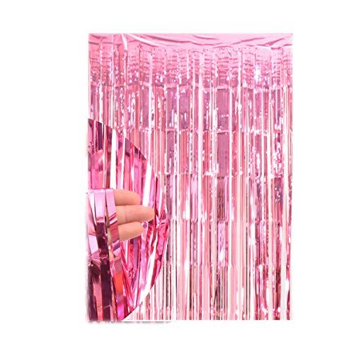 2 m Folienvorhänge Fotografie-Hintergrundbedarf Geburtstag Party Dekoration für Zuhause Klassisch 1mx2.5m(Size) rose