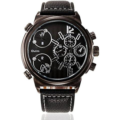 pkaty da uomo Business tre fuso orario cinturino in pelle PU movimento giapponese quarzo orologio da polso, colore: nero