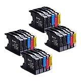 20er Set kompatibel Brother LC1240XL LC1280XL Druckerpatronen für Brother MFC-J430W MFC-J625DW MFC-J825DW – 8 Schwarz/4 Blau/4 Rot/4 Gelb, mit Chip