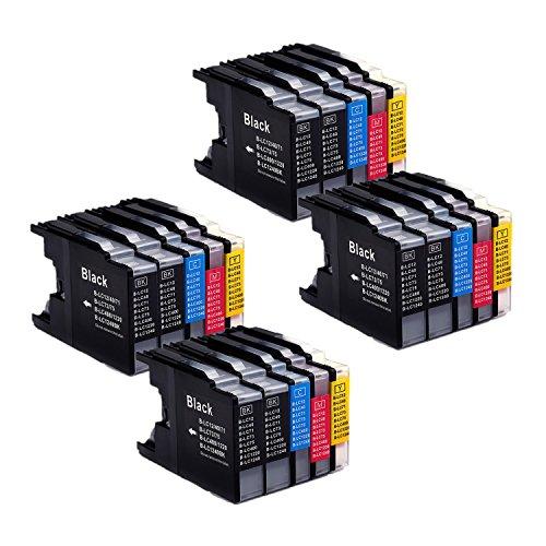 20er Set kompatibel Brother LC1240XL LC1280XL Druckerpatronen mit hoher Reichweite für Brother MFC 430 625 825 6510 6710 6910 MFC-j430W MFC-J625DW MFC-J825DW MFC-J6510DW MFC-J6710DW MFC-J6910DW DCP 525 725 925 DCP-J525W DCP-J725DW DCP-J925DW Drucker – 8 Schwarz/4 Blau/4 Rot/4 Gelb, mit Chip