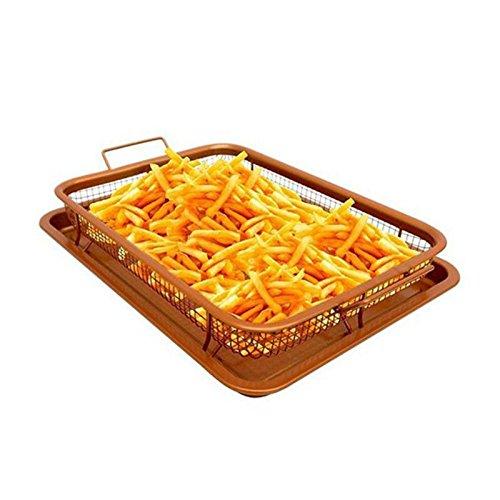Heißer Mehrzweck Kupfer Schlemmerplatte Schärfer Ofen Luftfriteuse Pan Non-Stick Mesh Grill Crisp Tray Edelstahltablett