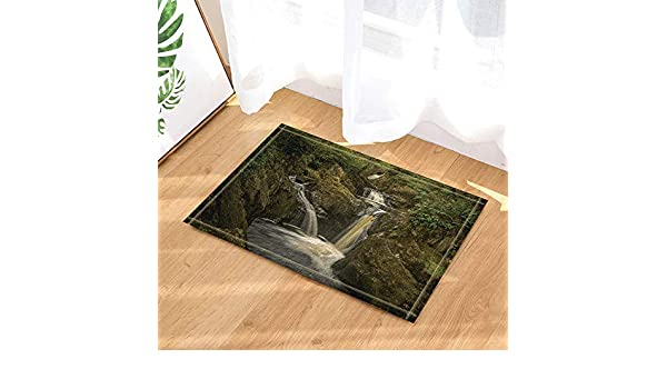 GAOFENFFR Bella Cascata Fiume Chiaro e Foresta Verde in Valle Marrone Impermeabile Antiscivolo Senza tappetini chimici