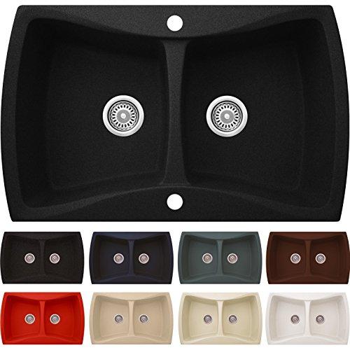 Granitspüle NAVIA in SCHWARZ METALLIC | Einbauspüle ab 80er Unterschrank | 2- Becken-Küchenspüle ohne Abtropffläche | Antibakterielle Beschichtung | incl. kompletter Ab-/Überlaufgarnitur + Drehexcenter + 2x Siebkorbventilen