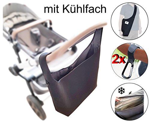 Universelle Kinderwagen Einkaufstasche XL (Neopren) mit Kühlfach Schultergurt und 2 Karabinerhaken, SCHWARZ, Shopper, Kinderwagen-tasche, gross, Rollator, Rollstuhl, Zubehör, MIND CARE ESSENTIALS