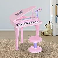 Piano à Queue électronique 37 Touches Multifonctions avec Micro Haut Parleur et Tabouret
