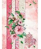 1 foglio Stamperia A4 carta di riso 21 x 29,7 cm per collage e decoupage A4 Fiori rosa per te