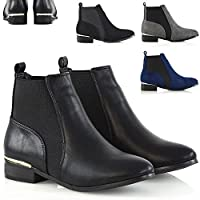 ESSEX GLAM Womens Chelsea Boots Elasticated Gusset Ladies Flat Pixie Casual Ankle Booties