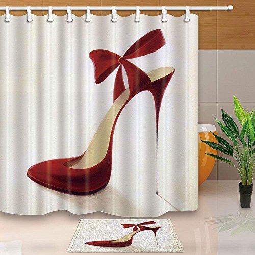 cdhbh 3D Digital Printing Fashion Frau Decor Rot High Heels Schleife 180x180cm Schimmelresistent Polyester Stoff Vorhang für Dusche Anzug 40x60cm Flanell rutschfeste Bad Teppiche