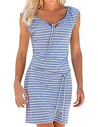 Robe Femme,Zycshang Mode Femmes D éTé Boho Stripe Longue Soirée Robes Plage  sans 5b0b35c28be6