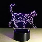 OOFAY LIGHT® 3D LED Nachtlicht Lampe Katze 7 Farben Touch Art Skulptur Lichter mit USB Kabel Schlafzimmer Schreibtisch Tisch Dekoration Lampe für Kinder Erwachsene Geschenk