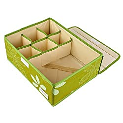 UberLyfe 6 Cell Drawer Closet Divider Storage Box with Lid_4 Lovely Colour - UW-000165-GRWL6C