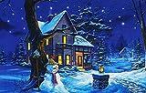 Kamaca LED Bild Winter - Zauberhafter Digitalprint auf wertigem Keilrahmen - beleuchtetes Bild mit LED´s Herbst Winter Geburtstag Weihnachten und Advent (Beleuchtetes Haus - 30 cm x 20 cm)