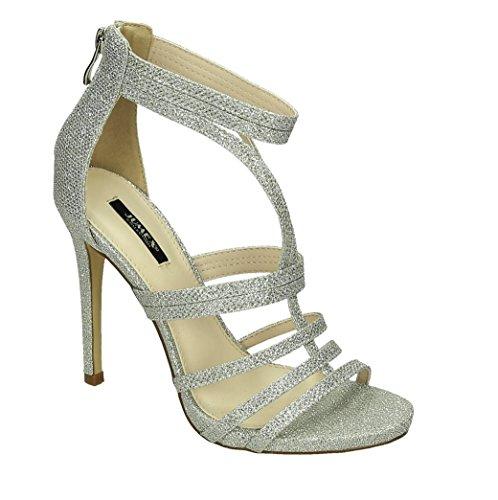 Damen Riemchen Abend Sandaletten High Heels Pumps Slingbacks Lack Peep Toes Party Schuhe Bequem 38 Silber 326