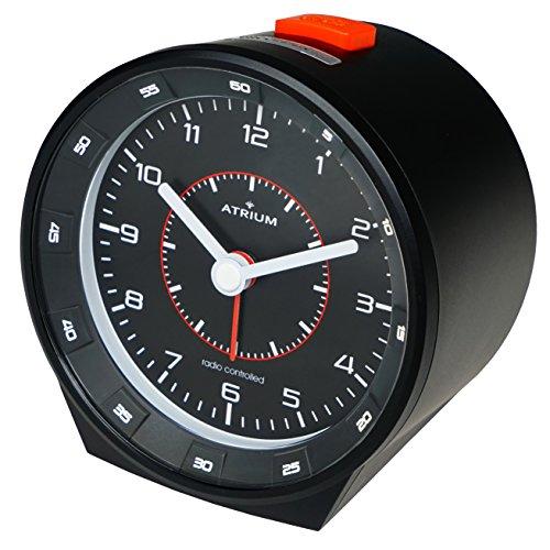 ATRIUM Funkwecker analog schwarz ohne Ticken mit Beleuchtung, Nachtlicht und Snooze A960-7