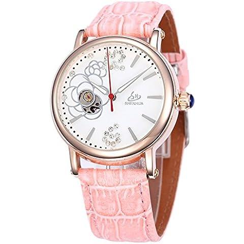 GuTe Orologio da donna elegante con scheletro meccanico automatico Orologio con diamanti, colore: rosa Baby - Womens Diamante Orologio Automatico