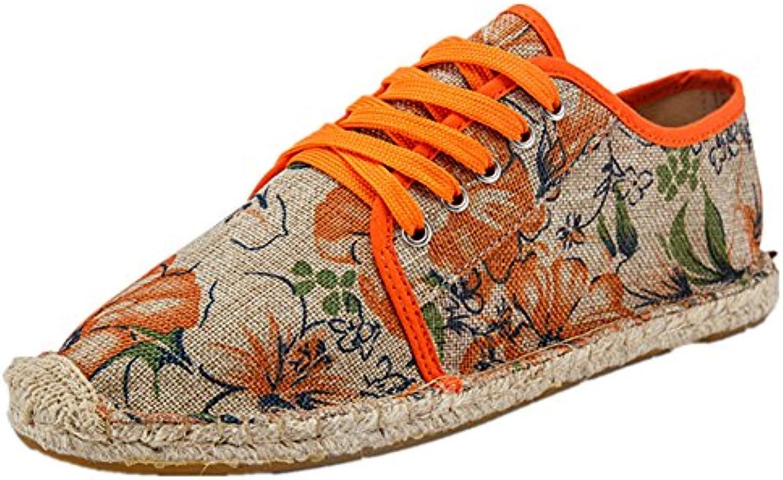 Estilo Chino Lino Espadrilles Zapatos con Cordones Lona Naranja Alpargatas para Hombre  -
