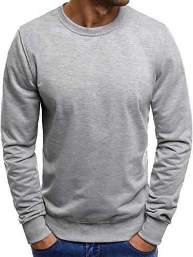 OZONEE Mix Herren Longsleeve Sweatshirt Langarmshirt Sweats Basic Figurbtont Slim-Fit JS/2018 Grau M