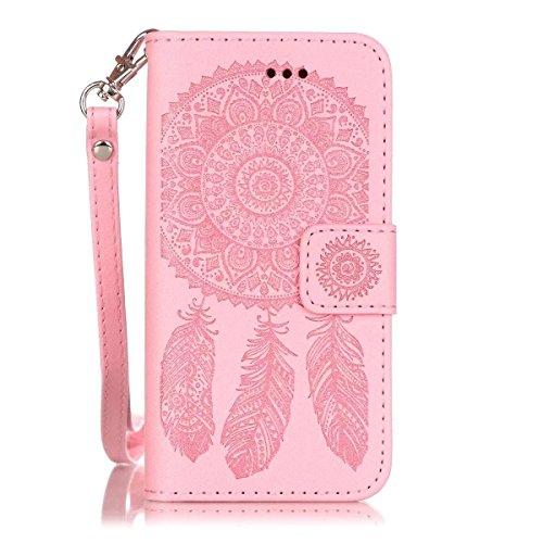 JIALUN-étui pour téléphone Avec la fente de carte, Lanyard, pression Belle patte Fashion Open Cell Phone Shell pour IPhone 5S SE ( Color : Black , Size : IPhone 5S SE ) Pink