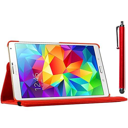 ebestStar - kompatibel Samsung Galaxy Tab S 8.4 Hülle SM-T700, SM-T705 Rotierend Schutzhülle Etui, Schutz Hülle Ständer, Rotating Case Cover Stand + Stift, Rot [Tab: 212.8 x 125.6 x 6.6mm, 8.4'']