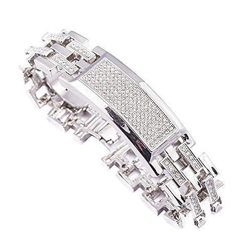 Pour homme plaqué argent 21,6cm 21mm Iced Out Cristal pierres ID Lien Chunky Hip Hop Bling Bracelet