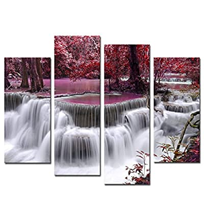 KING DO WAY 4 Piece Mangrove With Waterfall Canvas Print On Wall Painting Artwork Home Office Art Decoration - cheap UK canvas store.