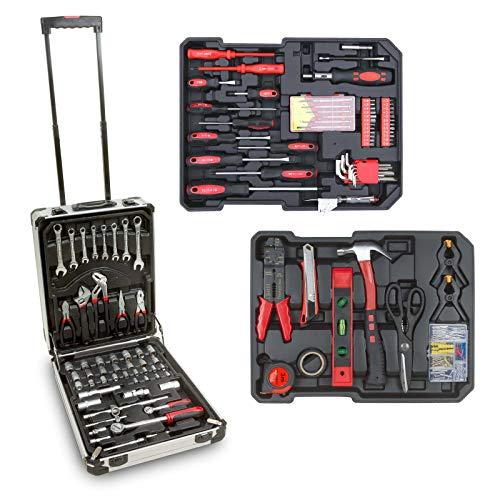 hanSe® Werkzeugkoffer Maxi Werkzeug Trolley gefüllt Werkzeugkasten Werkzeugkiste Heimwerker Werkzeugset