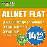 Klarmobil Allnet Flat XL mit 6 GB Internet Flat max. 21,6 MBit/s, Telefonie- und SMS-Flat in alle dt. Netze, EU-Flat, 24 Monate Laufzeit, 14,99 EUR monatlich, Triple-Sim-Karten