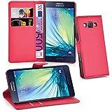 Cadorabo - Book Style Hülle für Samsung Galaxy A3 (5) (A300 - Modell 2015) - Case Cover Schutzhülle Etui Tasche mit Standfunktion und Kartenfach in KARMIN-ROT
