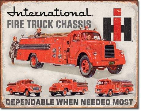IH FIRE TRUCK CHASSIS BLECHSCHILD USA NEU GROß 40x31cm - Usa Truck