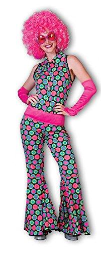 Polka Dot Anzug für Damen Gr. 36 38 - Schöner Jumpsuit im 70er Jahre Hippie Retro Stil für Karneval oder Mottoparty (Dot Retro Polka Pink)