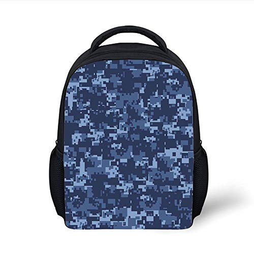Kids School Backpack Camo,Militaristic Digital Effected Armed Forces Pattern Grunge Fashion in Blue,Dark Blue Light Blue Plain Bookbag Travel Daypack -