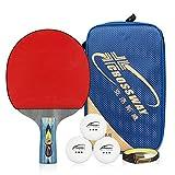 Prom-near Tischtennis Schläger 4-Sterne Single Bat Tischtennis Schläger Ping Pong Schläger Paddel mit kostenlosen 3 Bälle & Kantenschutz für im Freien Innen Sportaktivitäten