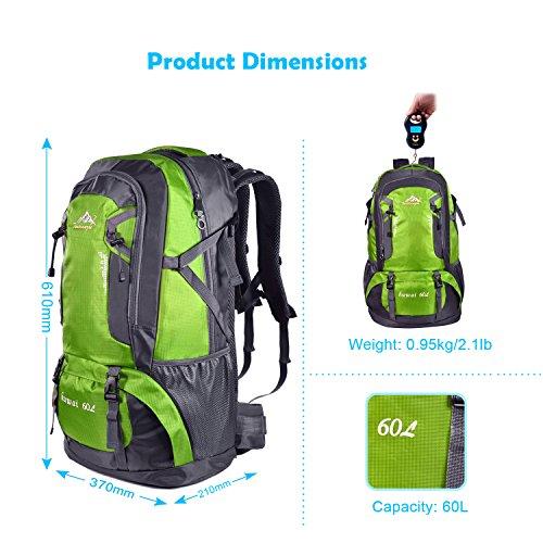 Bonibol große Kapazität 60 L Wasserdichte Wanderrucksäcke Reiserucksack Damen Herren Daypack für Outdoor Sport, Camping und Reisen Grün