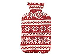 Pluchi Flocons Red & Natural Knitted Hot Water Bottle Cover