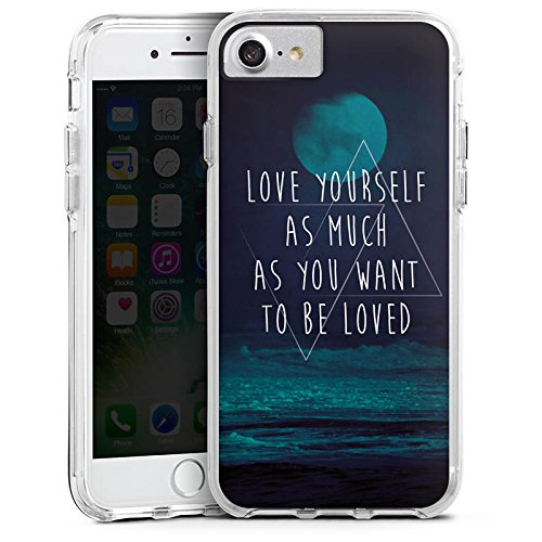 Apple iPhone 8 Bumper Hülle Bumper Case Glitzer Hülle Moon Mond Ocean Bumper Case transparent