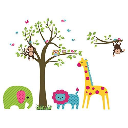 Wandtattoo Wandaufkleber Wandsticker Kinderzimmer. Tiere, Affe, Giraffe, Elefant, Löwe, Eulen und Baum. Wandaufkleber für Mädchen oder Baby Zimmer