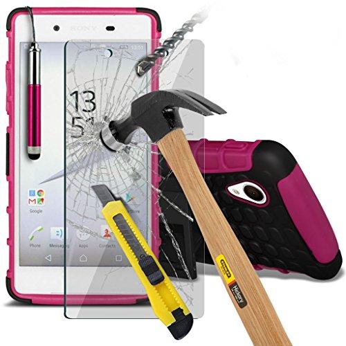 Fall für <b>      Sony Xperia Z5 hülle     </b>     Case Universal Car Phone Halter Halterung Armaturenbrett und Windschutzscheibe für iPhone y i -Tronixs Shock proof +Glass (Hot Pink)