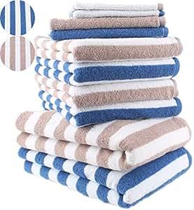 10 tlg. Badetuch Duschtuch Handtücher Set STREIFEN Farbe Beige & Royal Blau 100% Baumwolle 2 Duschtücher 4 Handtücher 2 Gästetücher 2 Waschhandschuhe