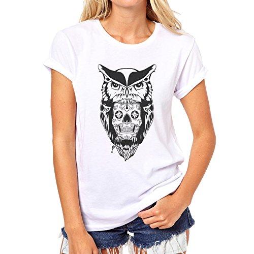 Owl Bird Night Midnighter Black Logo Big Damen T-Shirt Weiß