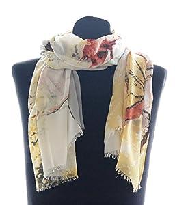 Striessnig Wien - Damen Schal Tuch, schickes Damentuch mit Schmetterlingen und Blumen, Farbenmix aus gelb, grün, grau! ca. 85 x 190 cm