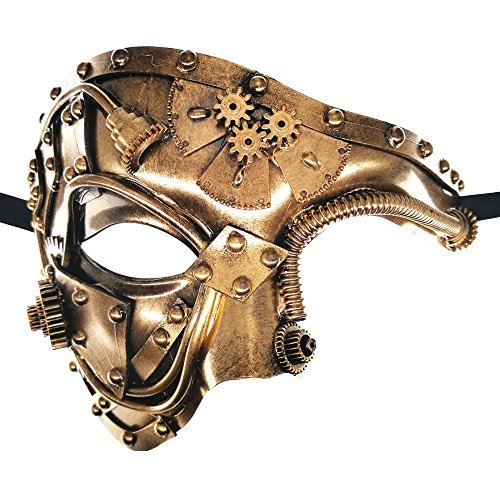 CCUFO Steampunk-Halbmaske viktorianische goldene mechanische Ausrüstung Mann venezianische Maske Maskerade / Themenparty / Karneval / Ball Dance