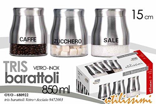 Set 3 contenitori barattoli barattolini Cucina in Vetro e Acciaio Inox 15 cm 850 ml Sale-Zucchero-caffè OYO-680922