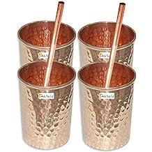Conjunto de 4 - artesanía india Prisha ® Vaso de Agua taza de cobre - Handmade vasos de agua - Viajero taza de cobre para Ayurveda Beneficios - REGALO DE NAVIDAD TEMA