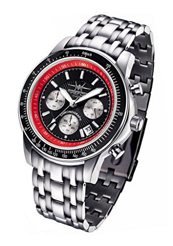 FIREFOX AIRLINER FFS04-102b schwarz/rot Chronograph massiv Edelstahl Sicherheitsfaltschließe Herrenuhr Armbanduhr 10 ATM wasserdicht